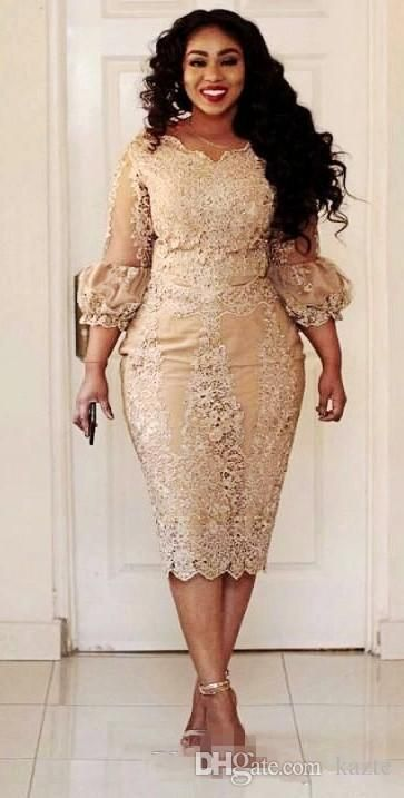 Vintage Champagne Lace Mother Of The Bride Dresses Tea Length 2018 Modest Long Sleeve Plu Evening Dresses Plus Size Lace Dress Styles Long Sleeve Evening Gowns