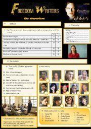 English Worksheet Freedom Writers 3 7 The Characters Freedom Writers Freedom Writers Movie Writer