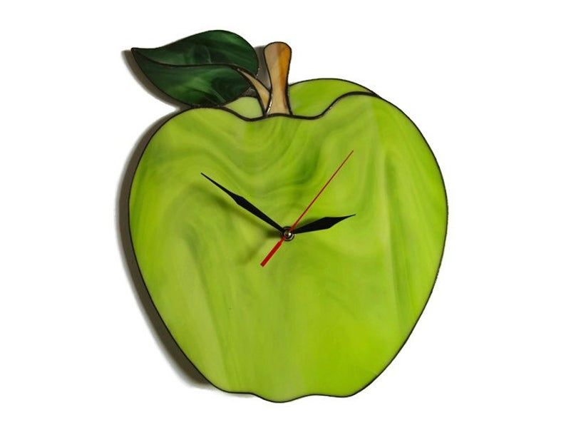 Green Apple Clock Apple Wall Clock Decorative Fruit Wall Etsy Unique Wall Clocks Wall Clock Modern Wall Clock