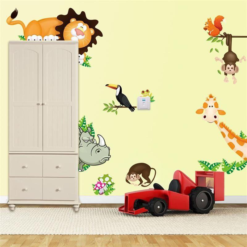 Wandtattoo Wandaufkleber Kinderzimmer Spielzimmer Dschungel Tiere Deko