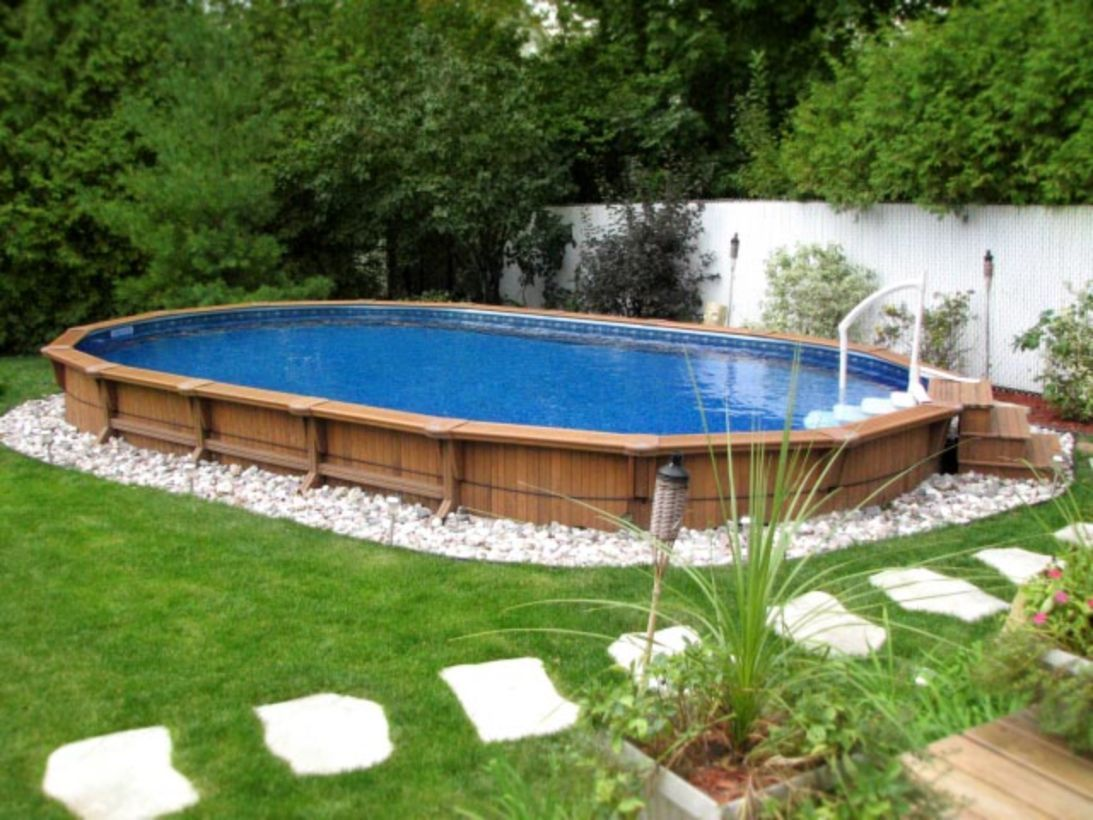 60 Cool Oval Pool Design Ideas Poolimgartenideen Everyone Love Having Swimming Pool At Home And Inground Pool Landscaping Oval Pool Backyard Pool Landscaping
