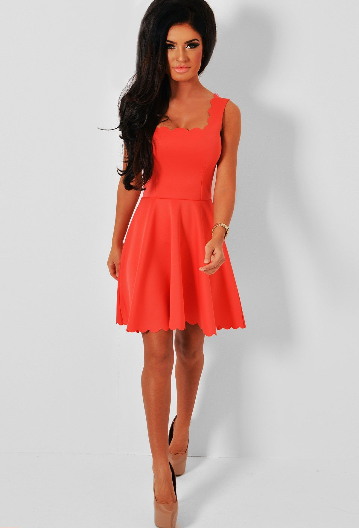 Rossini Coral Scalloped Hem Skater Dress | Dresses, Coral and ...