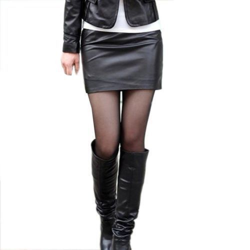 Womens Solid Tight Short Leather Mini Skirt | Leather and Suede ...