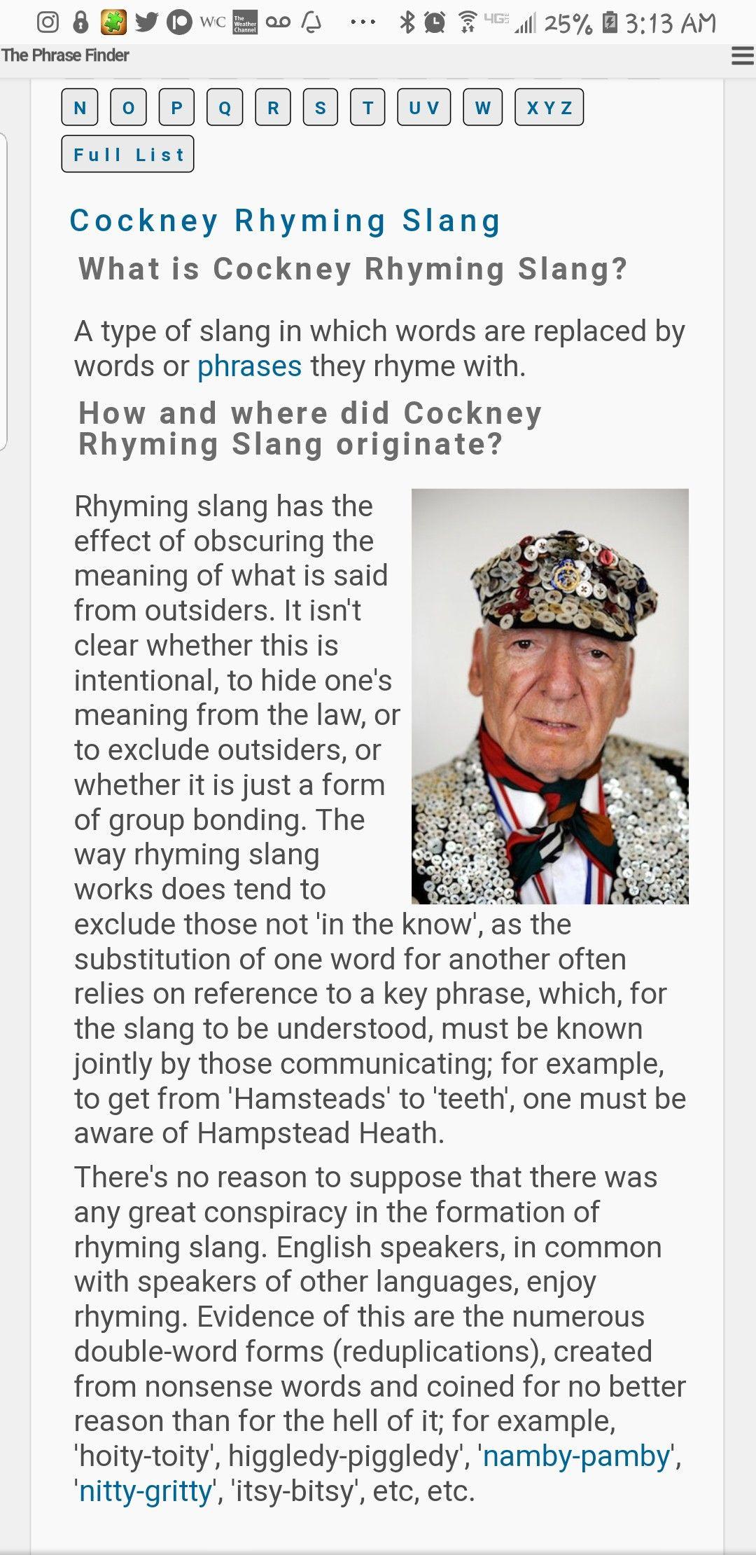 Cockney Rhyming Slang P1