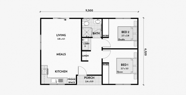 Daisy 2br 60m2 Bungalow Floor Plans Granny Flat Plans Loft Floor Plans