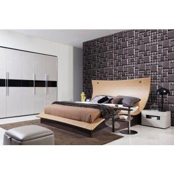 Modrest Hercules Modern Bed W Lights Modern Bed Upholstered