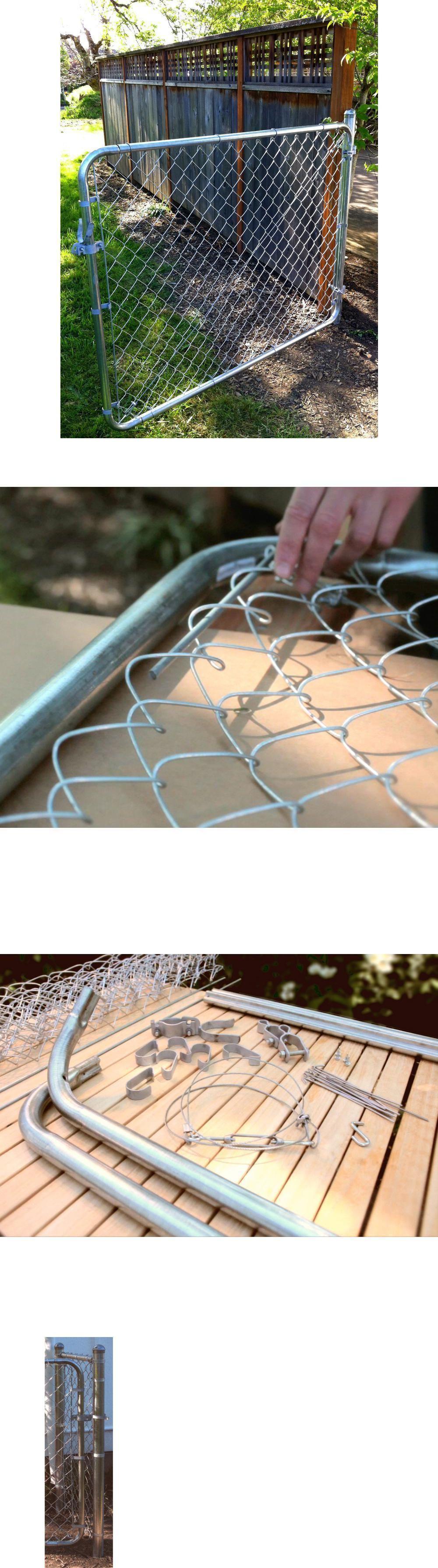 Heavy Duty Steel Adjustable Gate Walk Through Chain Link Dog Fence 6ft X 4ft Dog Fence Garden Gates Gate Kit