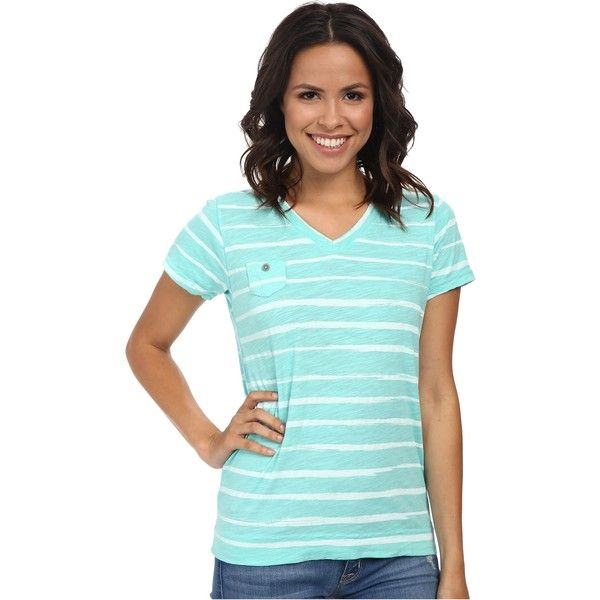 Fresh Produce Brushed Stripe Heritage Logo Fem Tee Women's T Shirt,... ($22) ❤ liked on Polyvore featuring tops, t-shirts, green, green t shirt, short sleeve t shirt, v neck t shirts, v neck tee and blue striped t shirt