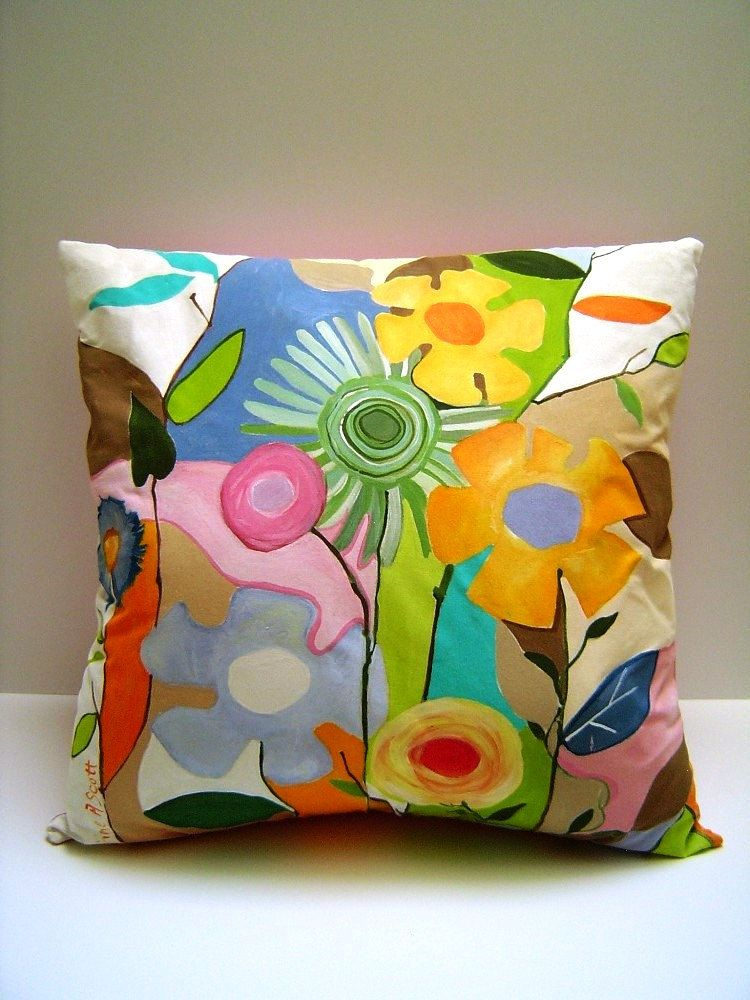 Pizzazy jazzy fleurs hand painted pillow abstract for Hand painted pillows