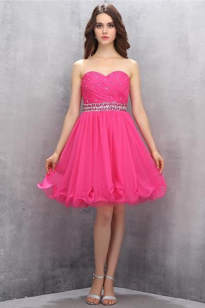 AH017 Sexy Bridesmaid Dress ,Cheap Prom Dress,Sweetheart Chiffon Rose Beading Homecoming Dresses Prom Dresses