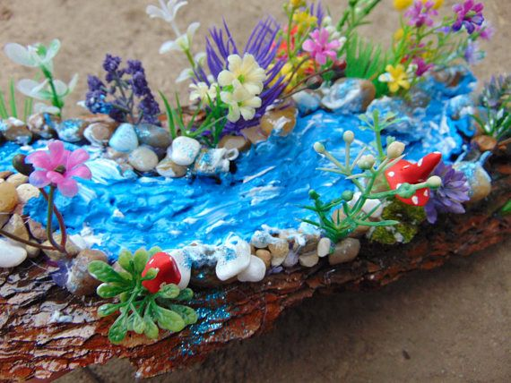 Add a river to your mini fairy garden, fairy pond, fairy water, fairy river,fairy accent, river, moss, fairy house kit, fairy waterfall is part of garden Pond Painting - Hi everyone! ) I created this fairy river for your sweet garden with a lot of love! You can place it in your plant pot! I added some moss, genuine river rocks, plants, mushrooms and this will bring super cute natural and good look to your fairy garden! Will bring joy to your fairies! )  Enjoy! <3 Measures Made on a tree bark! I have barks that are with different size, between 8  and 12  long! I do not have bigger in width or longer!   Note This piece will be handcrafted when ordered and will vary slightly from the photo as natural materials show their own individual characteristics This river can be suitable for small mini gardens or dioramas! I can make it for 45 days! Thank you friends! )