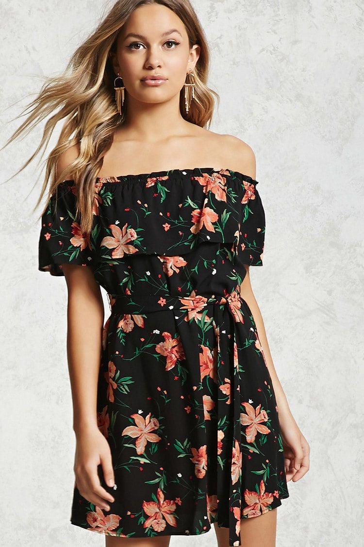 Vestido corto flores mujer