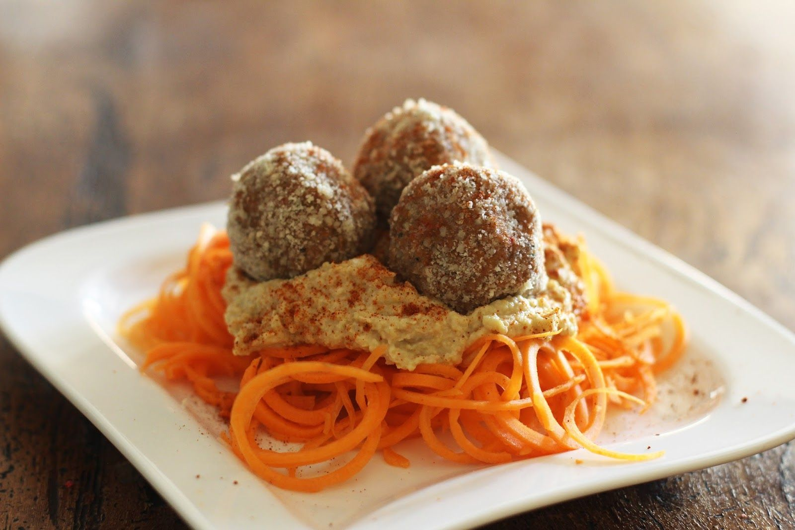 Raw Mushroom Walnut Meatballs with Hummus and Carrot Noodles - Vegan, Gluten Free, Delicious!