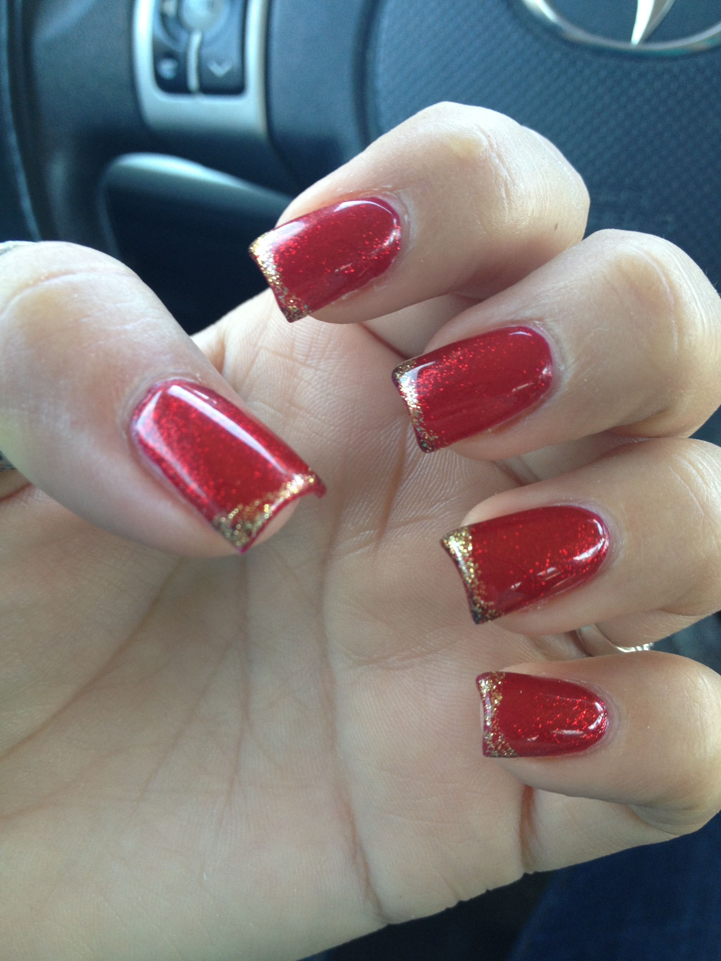 Shimmery red with thin gold tips | Angie\'s Nails | Pinterest