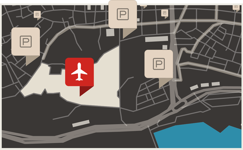 Map Graphic Airport parking, Airport, Midway park