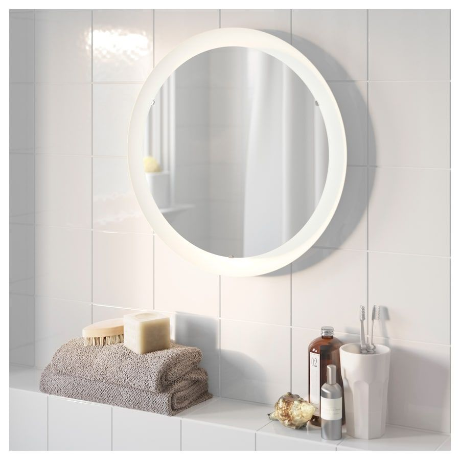 STORJORM Mirror with built-in light - white | Mirror with ...