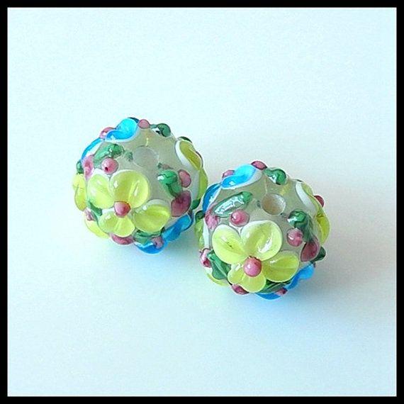 Murano Lampwork Glass Beads 3D Flower Lampwork by Jewelrycraftbox