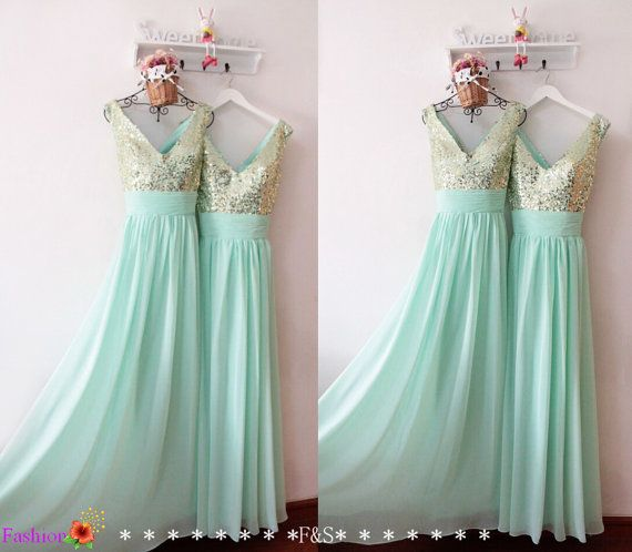 Long Mint Prom Dress,Sexy Sparkly Prom Bridesmaid Dress