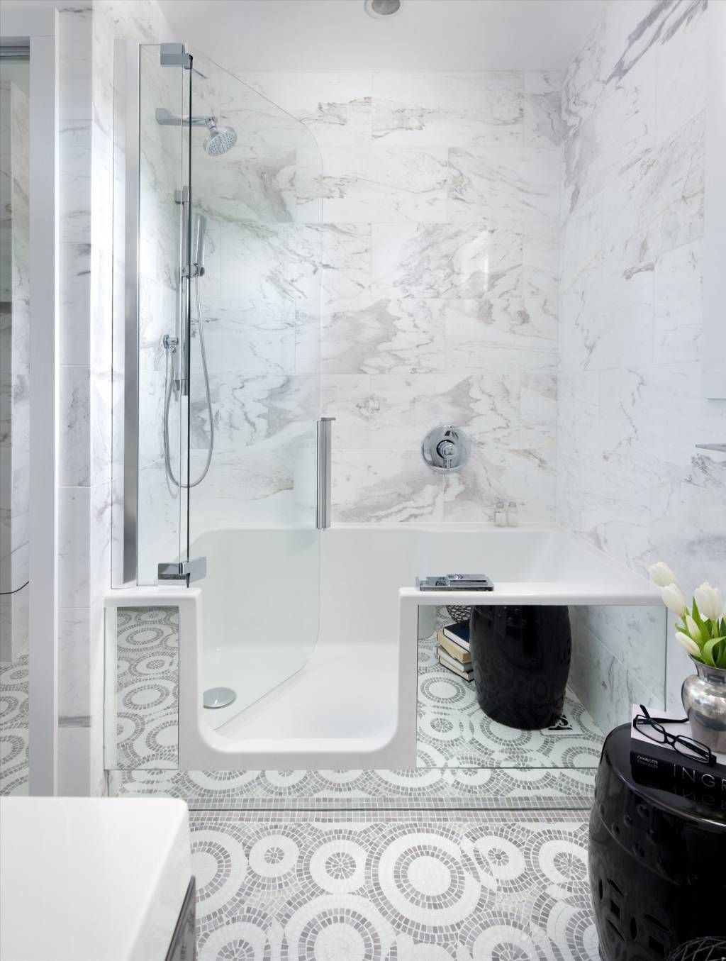 Deluxe Bathroom with Deep Bathtub Shower Combo and White Marble Wall ...