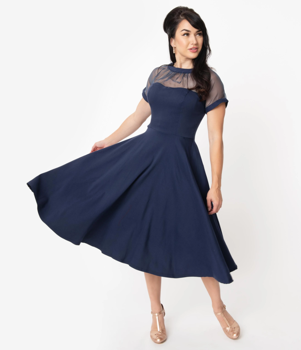 Unique Vintage 1940s Navy Blue Swiss Dotted Mesh Heather Midi Dress 1950s Cocktail Dress Blue Dress Outfits Summer Dress Outfits Casual [ 1164 x 1000 Pixel ]