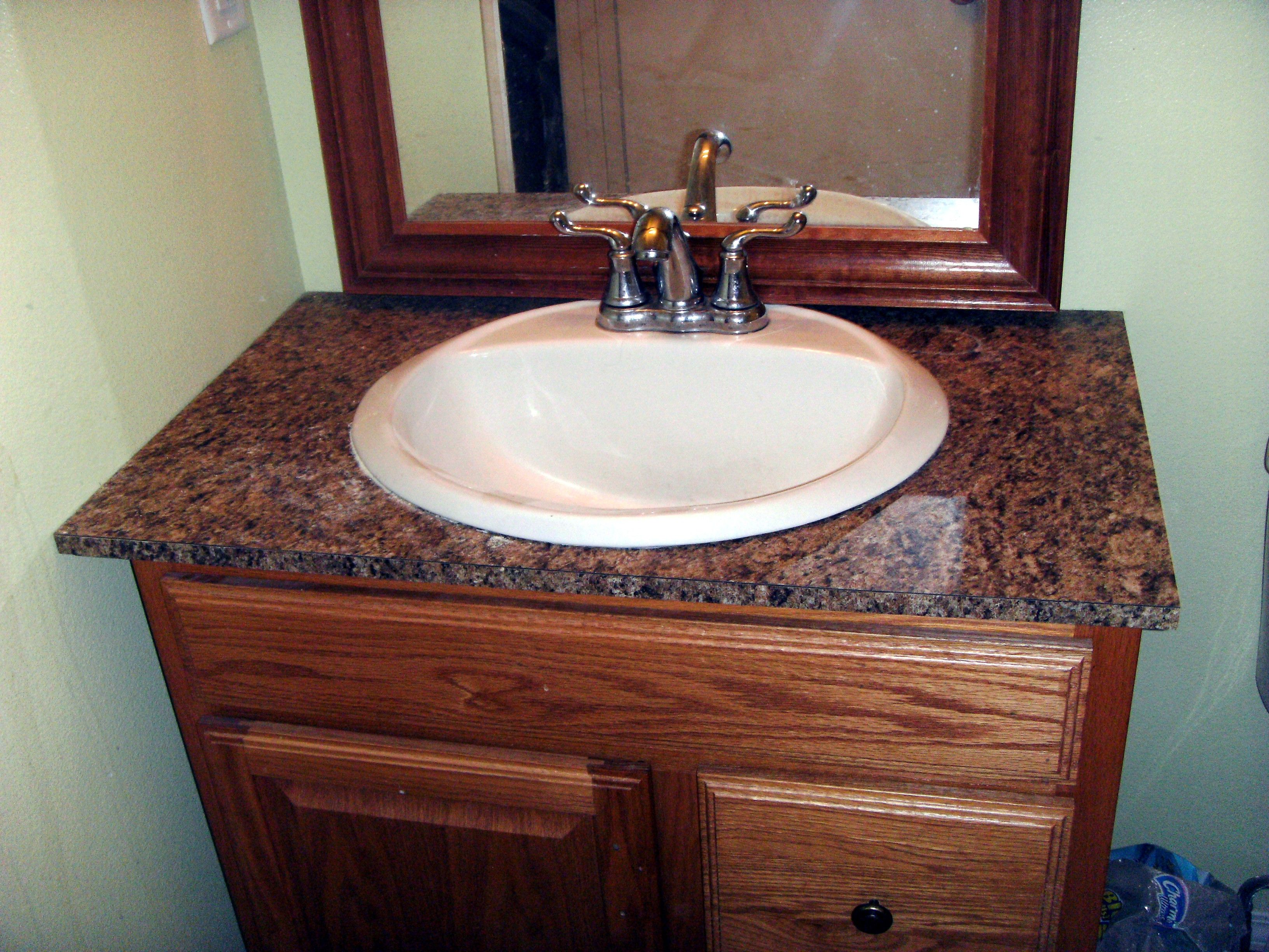 How To Install Laminate Formica For A Bathroom Vanity Countertop Bathroom Redo By Tanaya