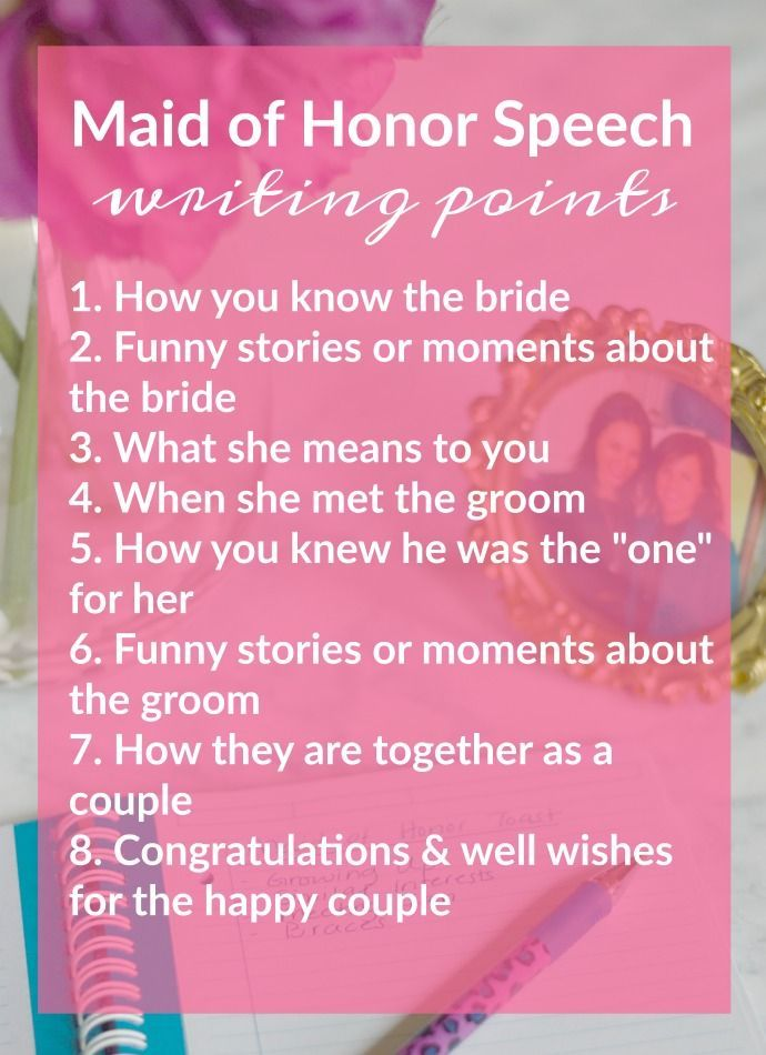 Tips for Writing & Presenting a MOH Speech | Maids, Bridal showers ...