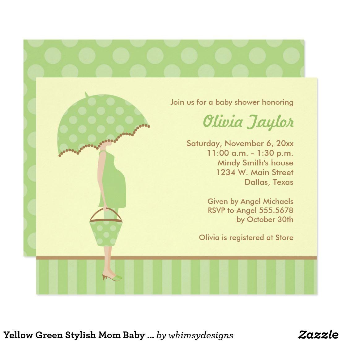 Yellow green stylish mom baby shower invitations shower invitations yellow green stylish mom baby shower invitations filmwisefo
