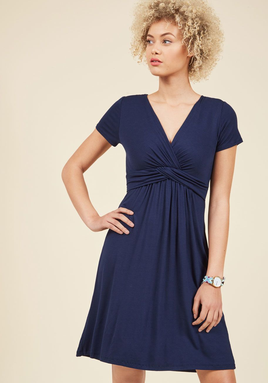 Twist the night away dress in navy modcloth short sleeve dresses