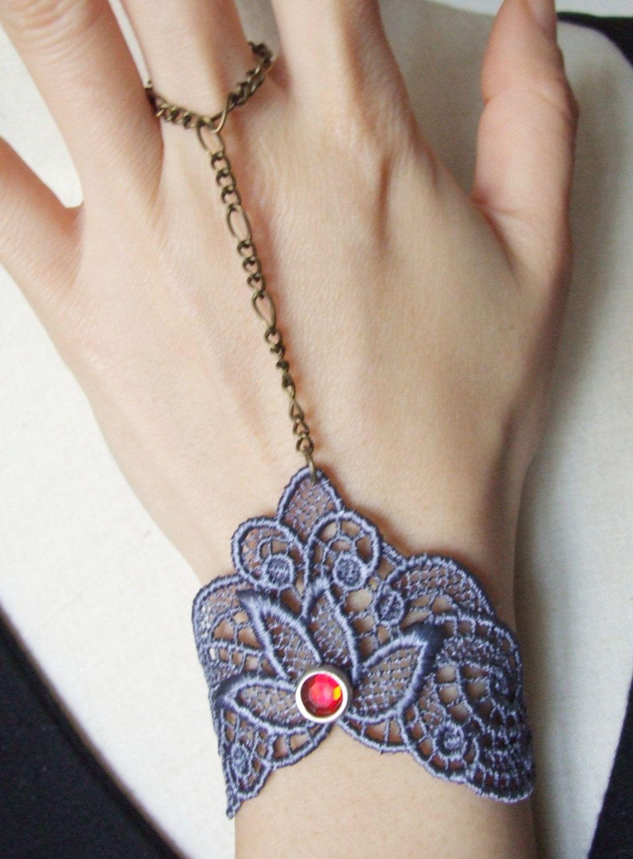 Gorgeous blue floral venise lace vintage gothic medieval red crystal