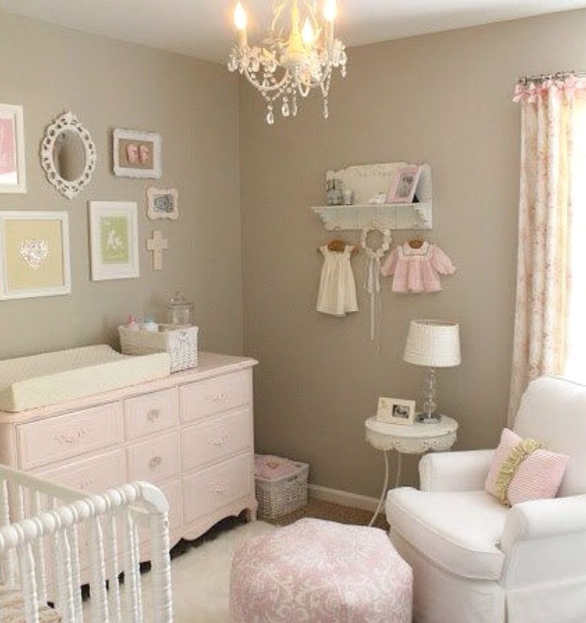 nursery for a baby girl. Grey, pink, pastels