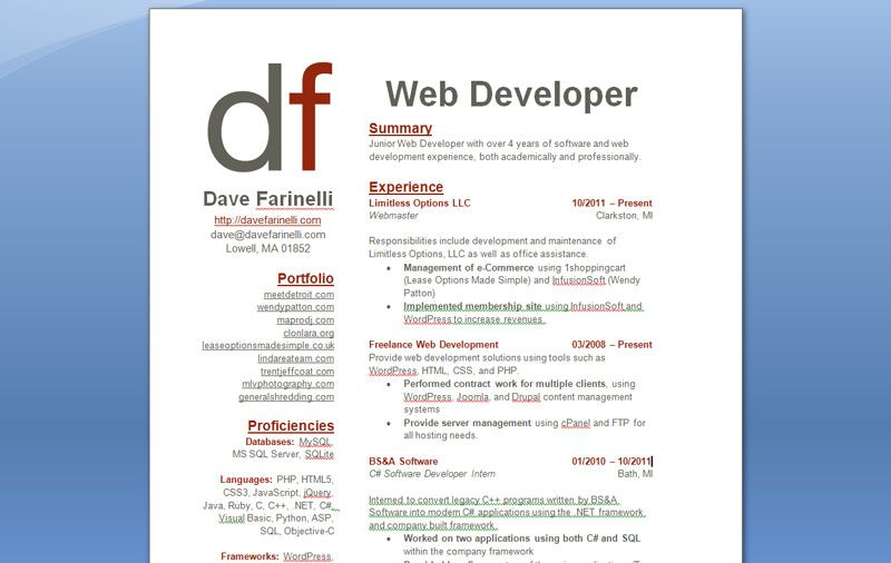 potential hazards of using multiple column format on your resume - Simple Format For Resume