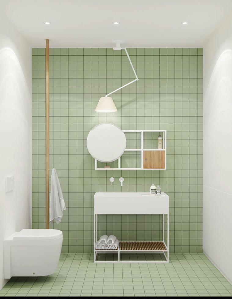 Déco Du0027intérieur De Salle De Bain Design Minimaliste Et Carrelage Vert  Pastel #bathroomimprovement