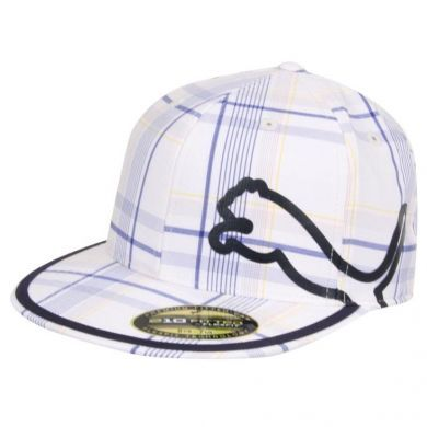 b441cf7cce2 This Plaid Puma Golf Monoline 210 Fitted Cap features a pattern with  touches of blue