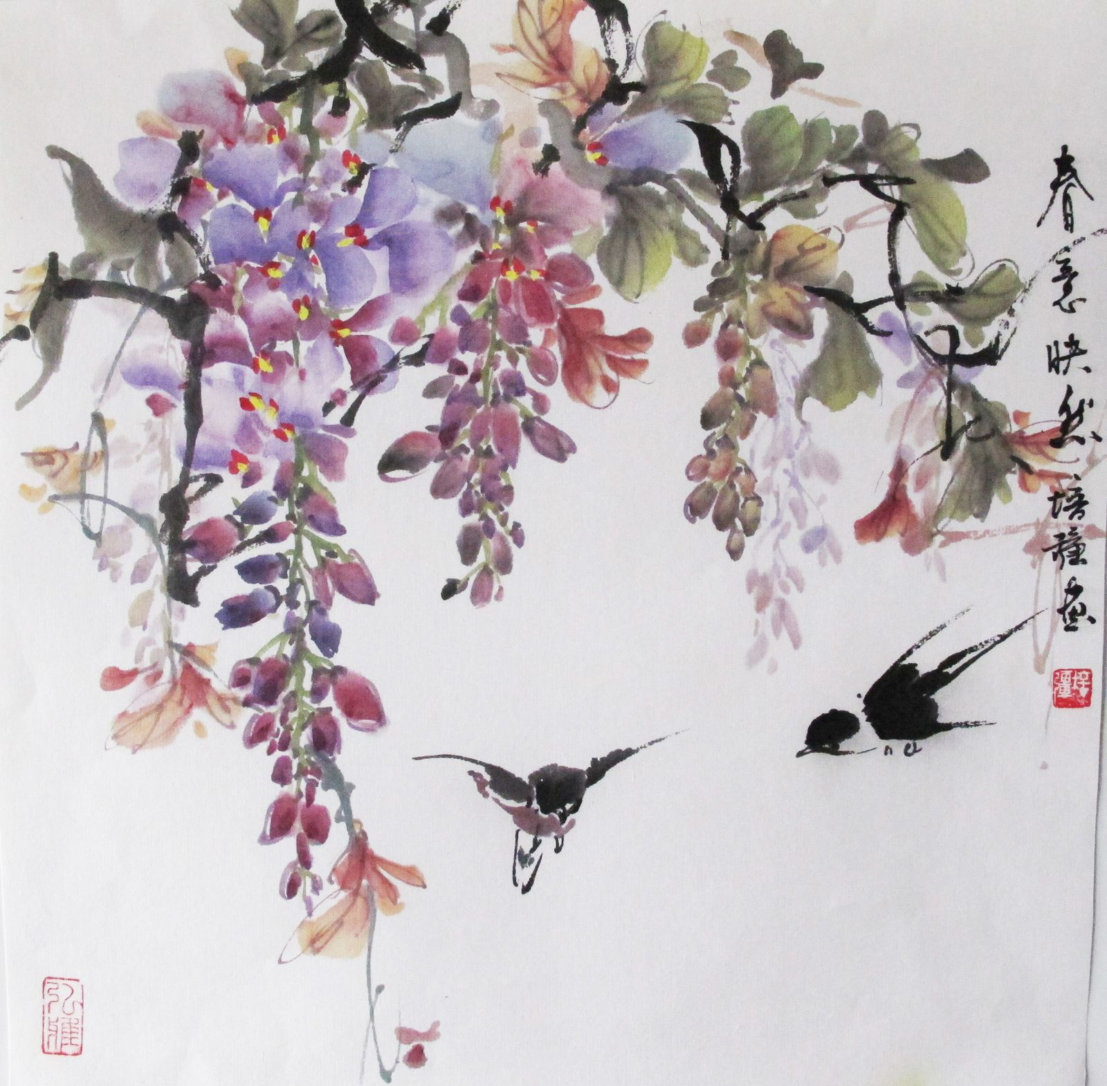 A Beautiful Wisteria Traditional Chinese Watercolor Painting
