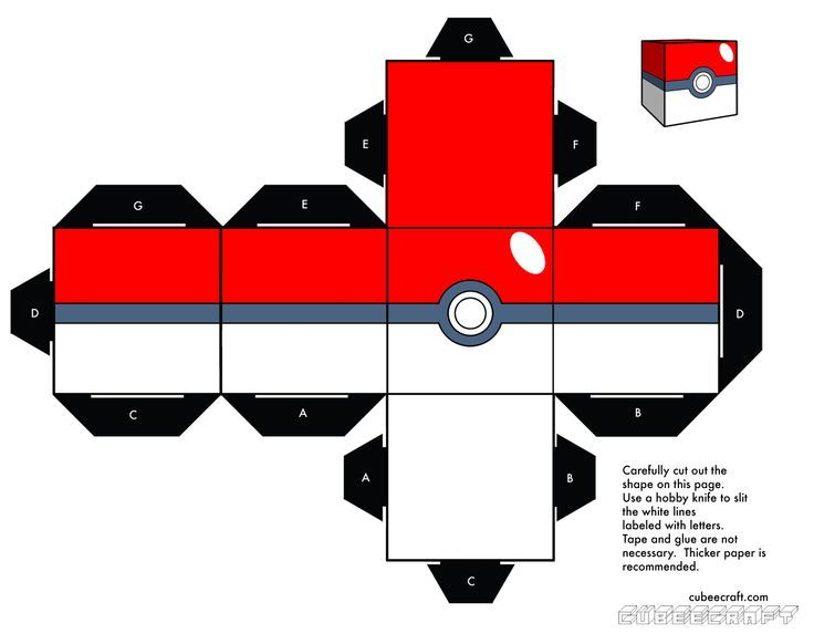 photo regarding Pokeball Printable called Cubeecraft Google, Pokemon Crafts For Youngsters, Papercraft