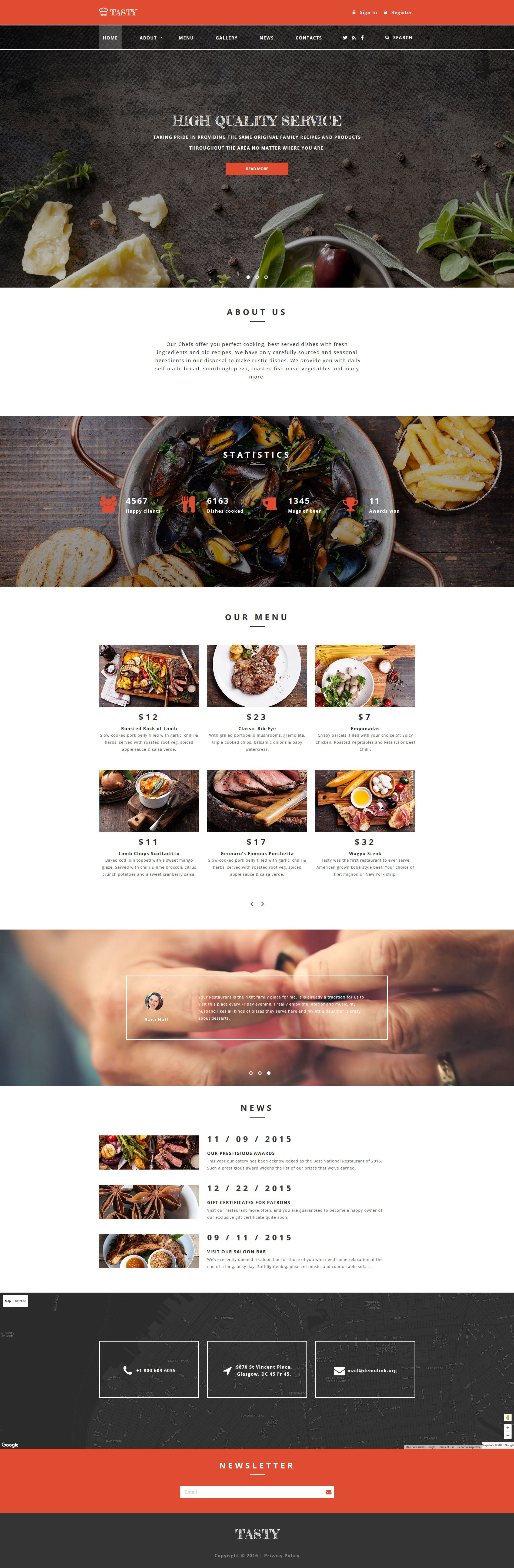 Tasty Cafe And Restaurant Website Template Cafes Template And