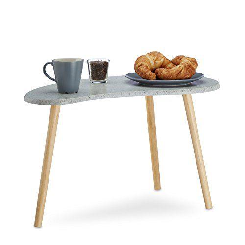 Relaxdays Beistelltisch grau für Wohnzimmer, kleiner Kaffeetisch