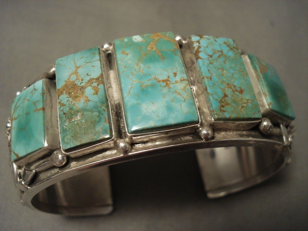This is one of the finest bracelets we have ever seen done by Ben. This wonderful piece contains 5 outstanding rectangular shaped old Royston turquoise stones that beautifully graduate in size towards the center. | eBay!