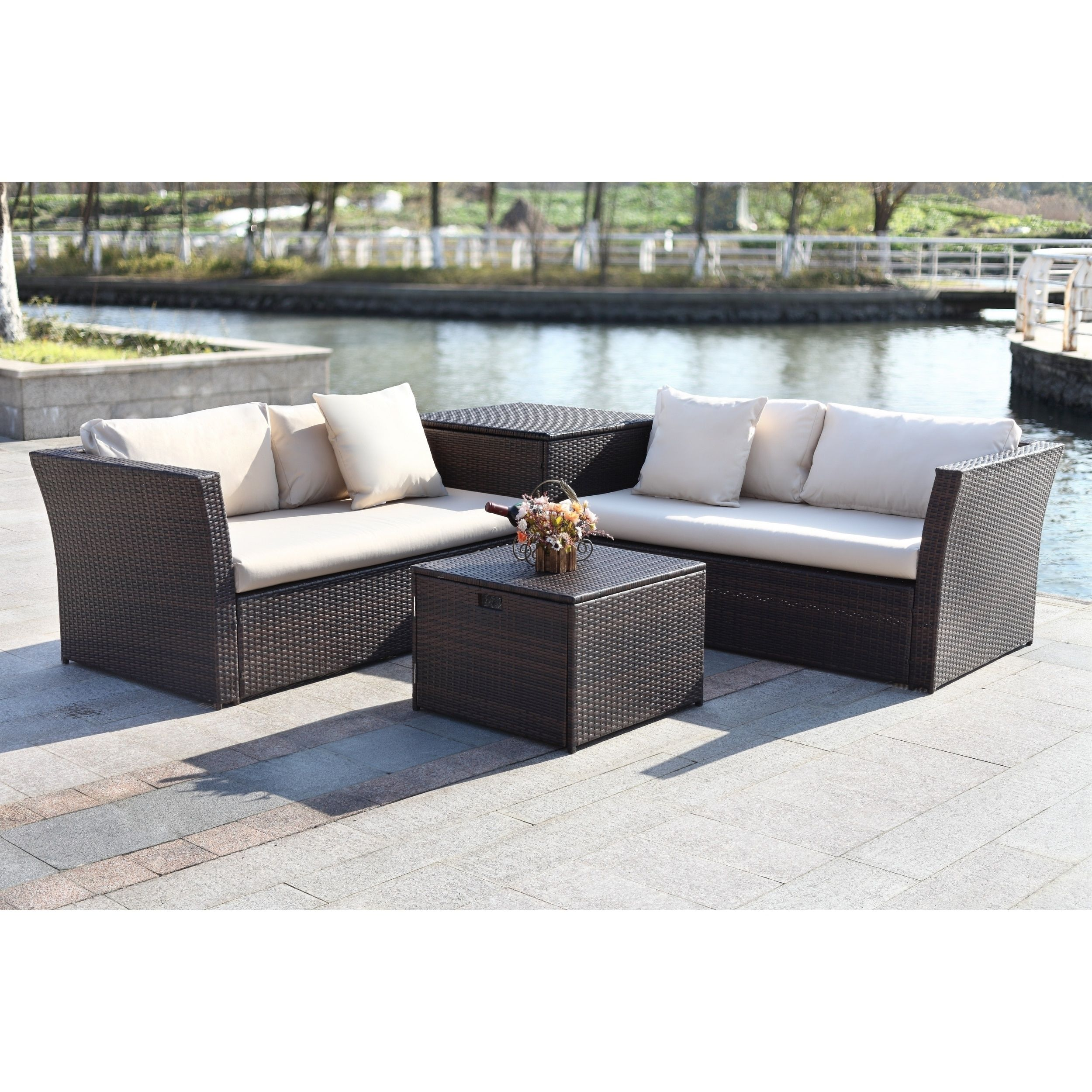 Safavieh Welch Brown/Beige Outdoor Living Sectional Set ... on Outdoor Living Wicker id=99106