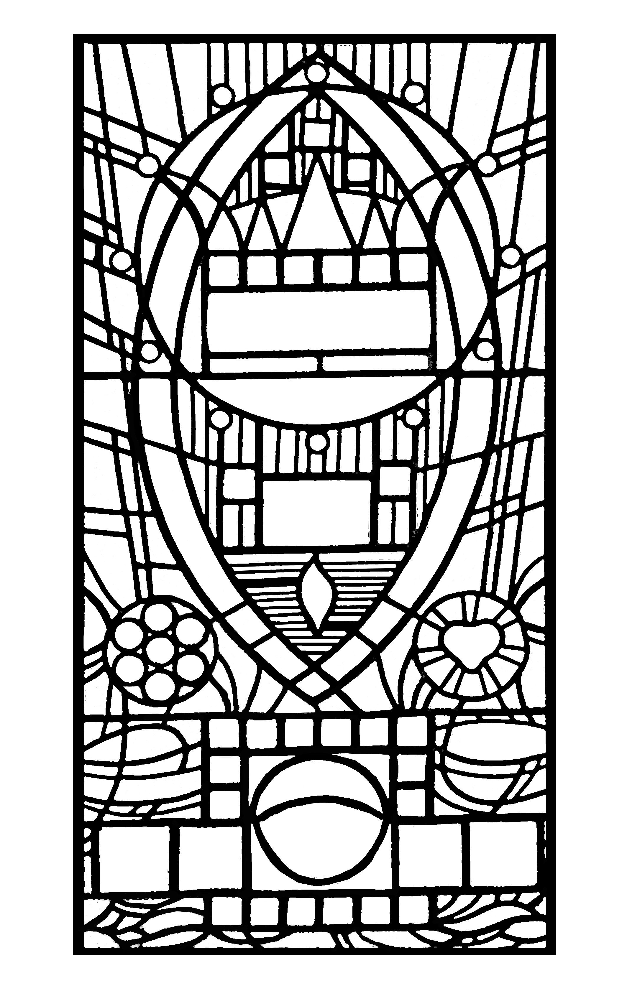 Free coloring page coloringadultstainedglassdel