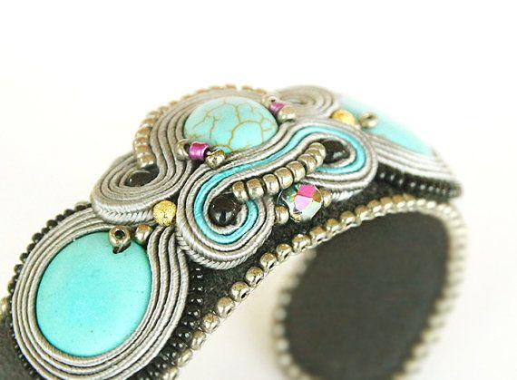 Turquoise bracelet cuff soutache grey bracelet light blue by pUkke