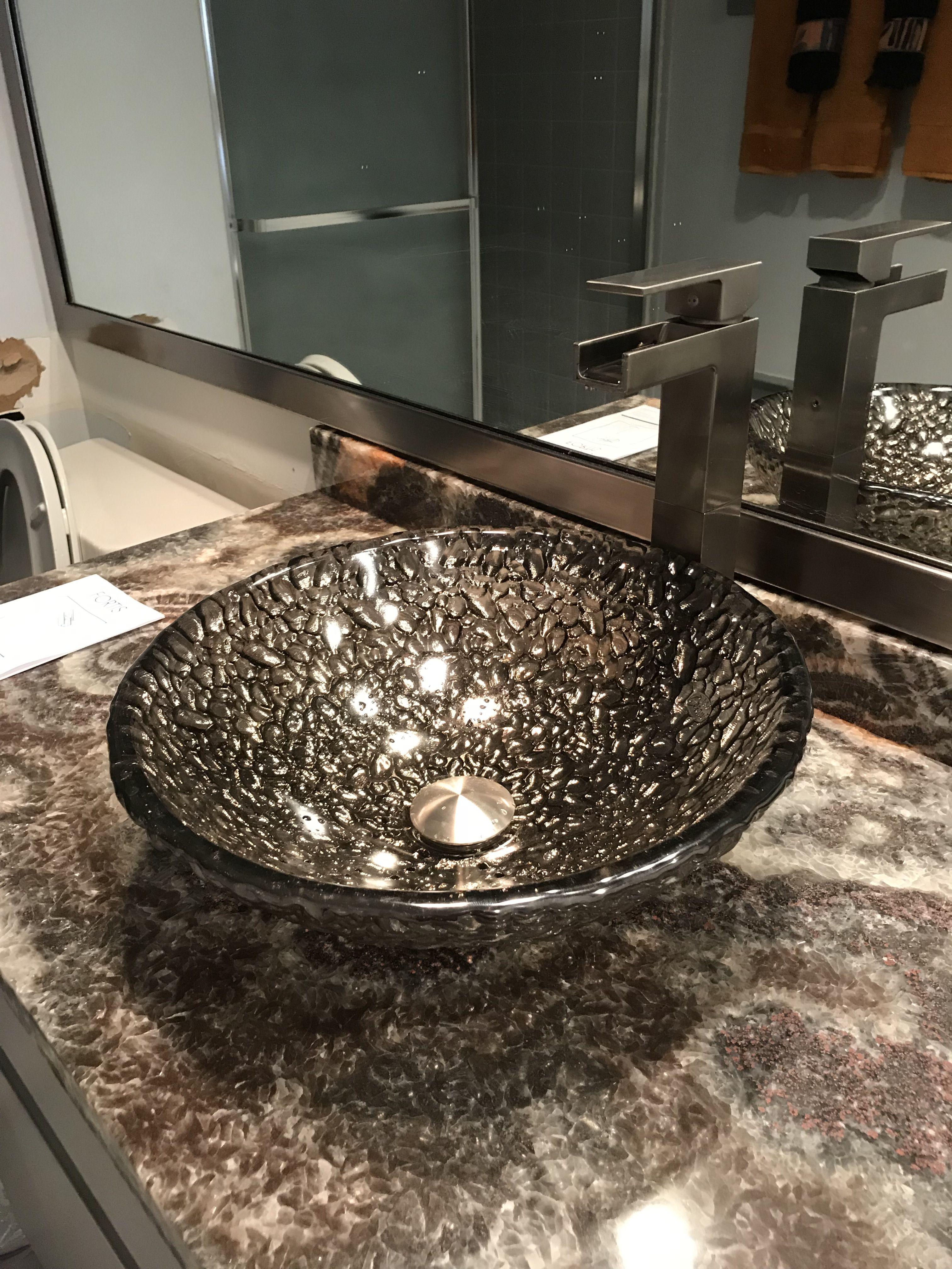 black nickel pebble 16 vessel glass