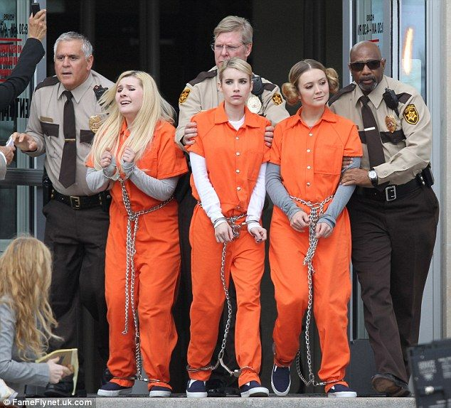 Stars Of Scream Queens Spotted Filming In Orange Prison