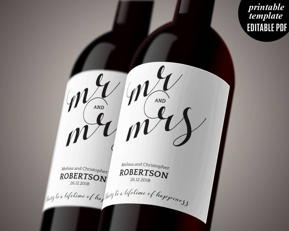 Wedding Wine Label Template Printable Mr And Mrs Modern Clic Calligraphy Tag Pdf Editable By Violetwedding