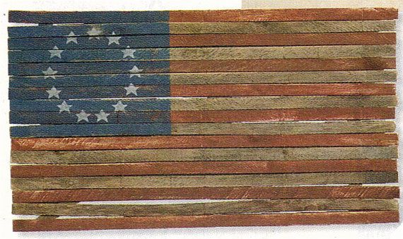 Americana Wood Flag Of Historical Colonial 13 Star