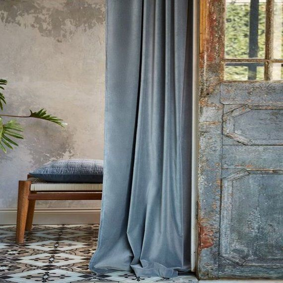 Pair of Baby Blue Velvet Curtains, Bedroom Velvet Curtains, Living Room Velvet Curtains, Custom Curtains  – Bedroom