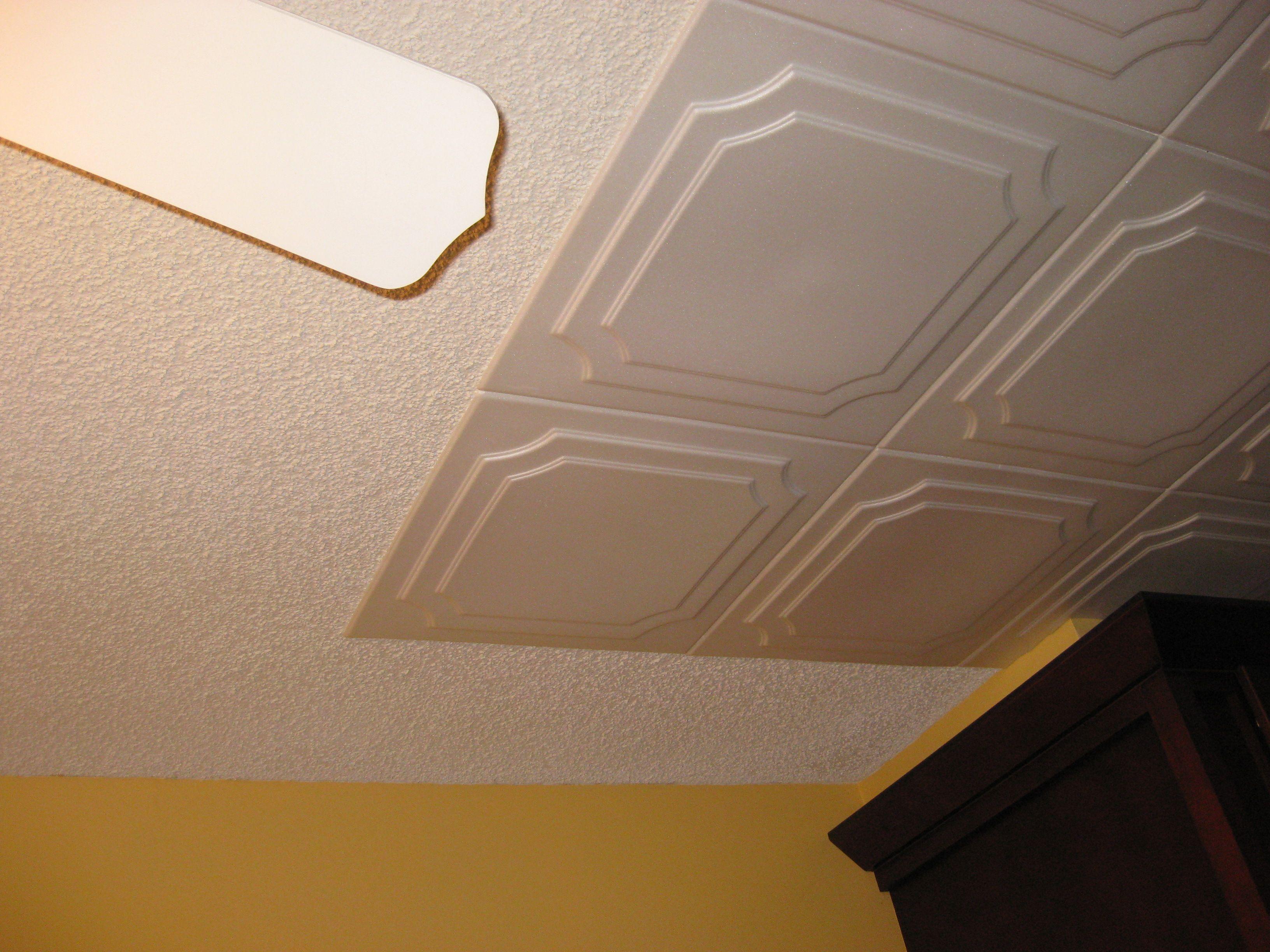 Styrofoam Decorative Ceiling Tiles Glue Over Popcorn