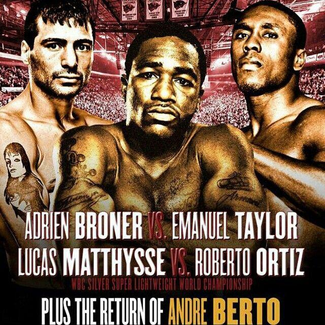 "It's #BronerTaylor Fight Week! Cincinnati you ready for @adrienbroner vs. Emanuel Taylor, Lucas ""The Machine"" Matthysse vs. @robertomassa24, @andreberto vs. Steve Upsher & a stacked card of local talent!? #BronerTaylor @shosports"
