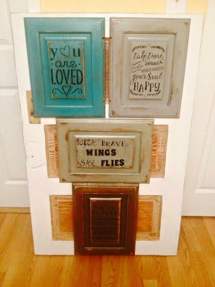 Hand Made Signs Made From Older Kitchen Cabinet Doors Painted Stenciled Distressed And Sealed W Cabinet Doors Repurposed Old Kitchen Cabinets Cabinet Doors