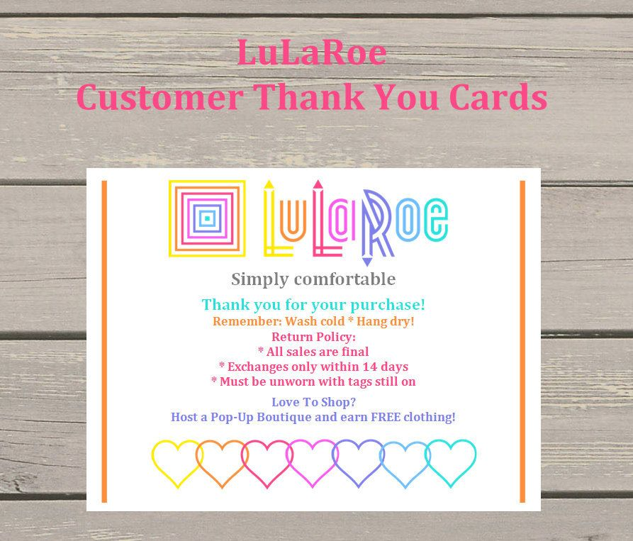 50 lularoe customer thank you cards return policy and product care